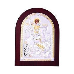 Посеребренная икона Георгий Победоносец на подставке 000131790
