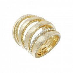 Серебряное наборное кольцо в желтом цвете с дорожками фианитов и фиксатором на тыльной стороне 00009