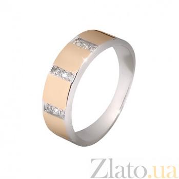 Кольцо из серебра Маями с золотой вставкой и фианитами 000013703