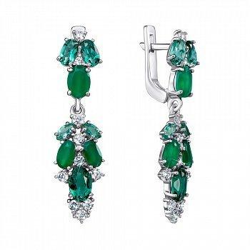 Серебряные серьги-подвески с агатом, зеленым кварцем и цирконием 000061458