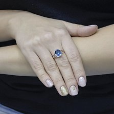 Кольцо из красного золота Светлана с топазом лондон и фианитами