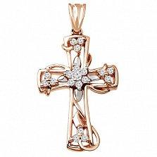 Декоративный крестик из красного золота с бриллиантами Надежда
