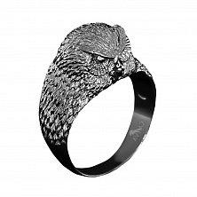 Кольцо из чернёного серебра Мудрая сова