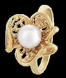 Позолоченное серебряное кольцо с жемчугом Пион