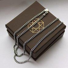Серебряная цепочка чернёная Панцирная, 2,8мм