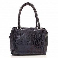 Кожаная сумка на каждый день Genuine Leather 8428 синего цвета с тремя отделениями на молнии