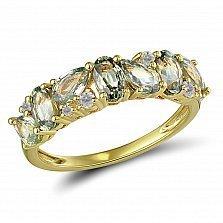 Кольцо из желтого золота Жанетта с бриллиантами и сапфирами
