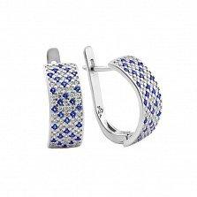 Серебряные серьги Небесный орнамент с белыми и синими фианитами