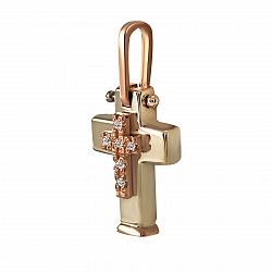 Крестик из желтого золота София с бриллиантами 000051142