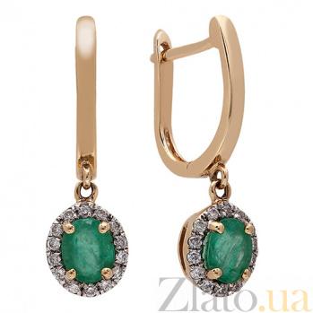 Золотые серьги с изумрудами и бриллиантами Эжени 1С309-0126