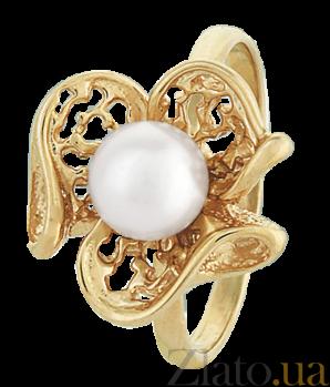 Позолоченное серебряное кольцо с жемчугом Пион 000025667