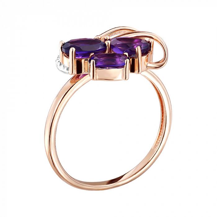 Кольцо из красного золота с аметистами и цирконием 000141241 000141241