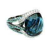 Золотое кольцо с голубым топазом, турмалинами и бриллиантами Ансония