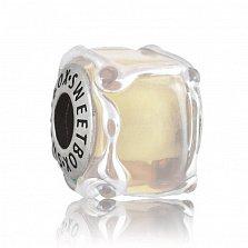 Серебряный шарм Песочный куб с муранским стеклом