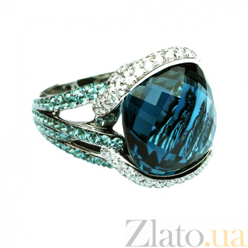 Золотое кольцо с голубым топазом, турмалинами и бриллиантами Ансония 000026894