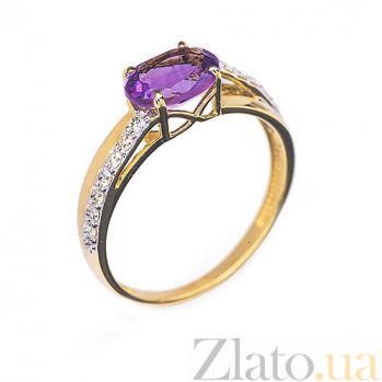 Золотое кольцо с аметистом и бриллиантами Афина R 0300