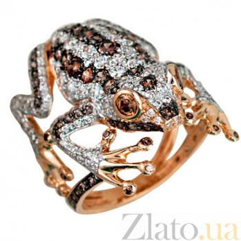 Кольцо из красного золота с фианитами Царевна-лягушка VLT--Т101-7
