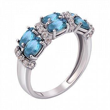 Серебряное кольцо с топазами и фианитами 000013484