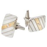 Серебряные запонки с золотыми вставками и цирконием Артур