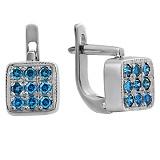 Золотые серьги с голубыми бриллиантами Джустина