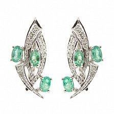 Серебряные серьги с бриллиантами и изумрудами Эмилия
