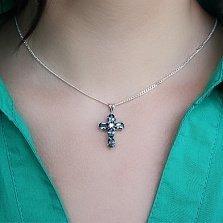 Серебряный крестик с лондон топазами и фианитом Современный шик