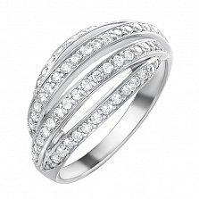 Золотыое кольцо Евгения в белом цвете с бриллиантами