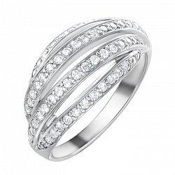 Золотое кольцо в белом цвете с бриллиантами 000064812