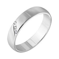 Обручальное кольцо из белого золота с фианитами 000005715