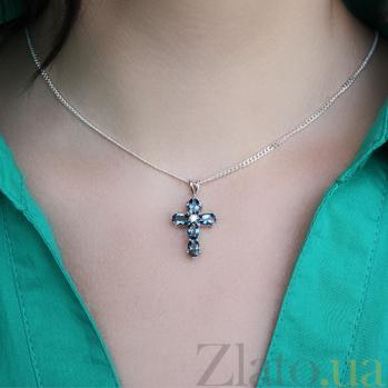Серебряный крестик с лондон топазами и фианитом Современный шик 44019