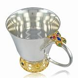 Детская серебряная чашка с позолотой Сказочный сад
