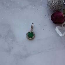 Серебряный подвес Рита с зеленым агатом и фианитами