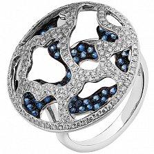Золотое кольцо Изумление с сапфирами и бриллиантами