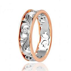 Обручальное кольцо в комбинированном цвете золота с бриллиантами 000001757