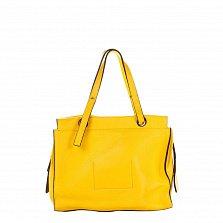 Кожаная деловая сумка Genuine Leather 8951 желтого цвета на молнии, с металлическими ножками