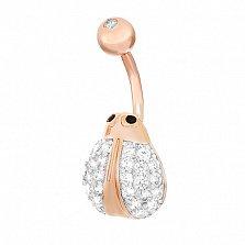 Серебряная серьга для пирсинга с кристаллами циркония Жучок