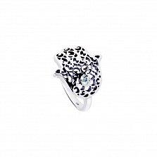 Серебряное кольцо Хамса с узорами и белым цирконием