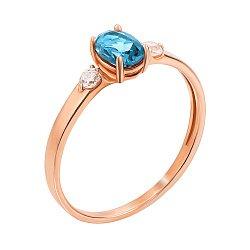 Кольцо из красного золота с голубым топазом и фианитами 000123697