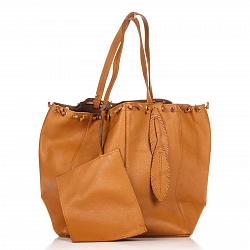 Кожаная сумка на каждый день Genuine Leather 8250 коньячного цвета на кулиске со съемным кошельком
