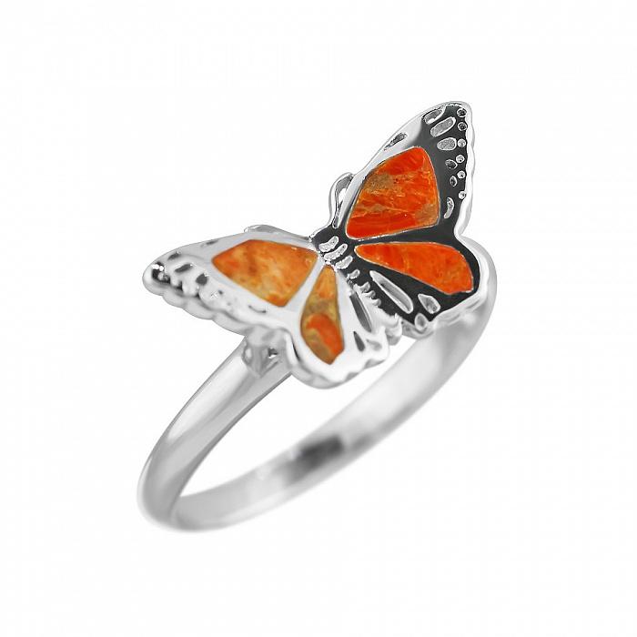 Серебряное кольцо Солнечный мотылек с оранжевой яшмой 000081548