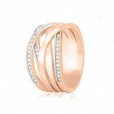 Серебряное кольцо Фабиана с цирконием  и позолотой