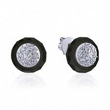 Серебряные серьги-пуссеты Викки с черной керамикой и белыми фианитами
