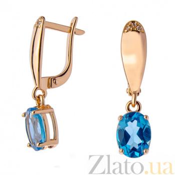 Серьги в красном золоте Жаклин с голубым топазом и фианитами SVA--2190717101/Топаз голубой