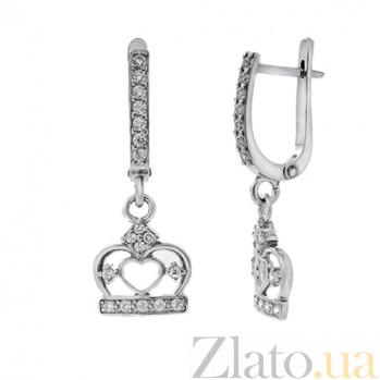 Серебряные серьги с фианитами Корона AUR--82002бau