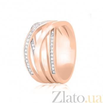 Серебряное кольцо Фабиана с цирконием  и позолотой 000078622