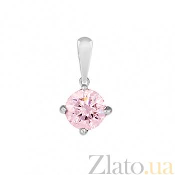Серебряный подвес c розовым фианитом Аделис 000032515
