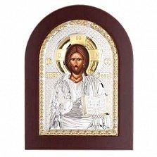 Икона Иисуса Христоса серебряная с позолотой