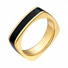 Золотое кольцо с черной эмалью Утро и вечер