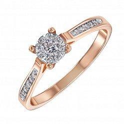 Кольцо в красном золоте с бриллиантами 000117686