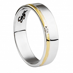 Обручальное серебряное кольцо Наша история с фианитом и золотой вставкой